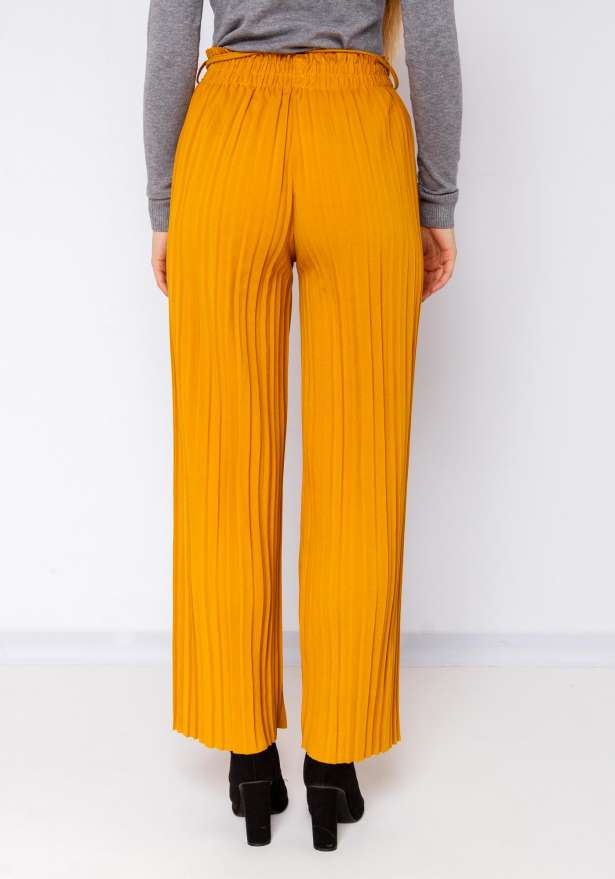Wide Leg Pleated Tie Up Pants In Yellow