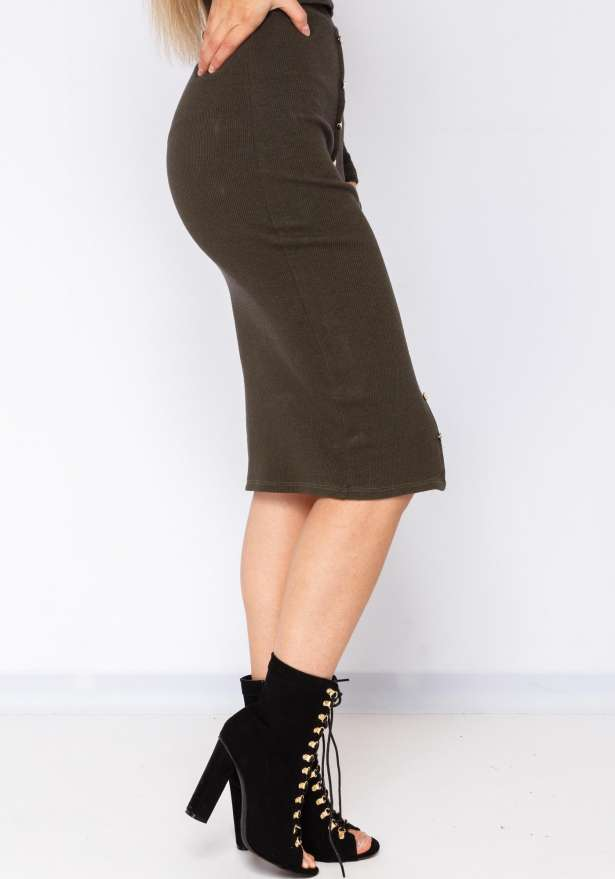 Gold Button Detail Skirt In Khaki