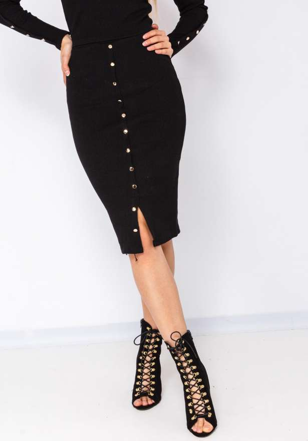 Gold Button Detail Skirt In Black