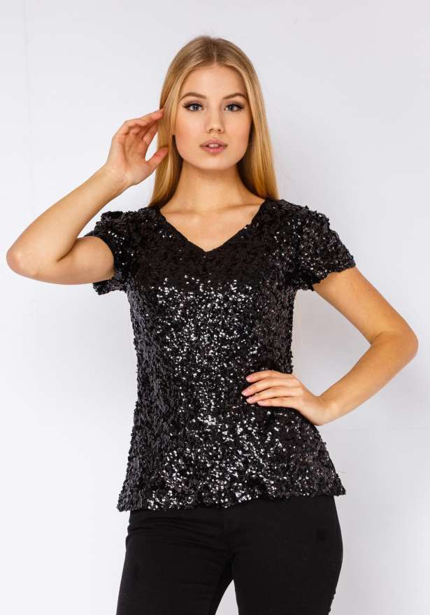 Sequin T-shirt In Black