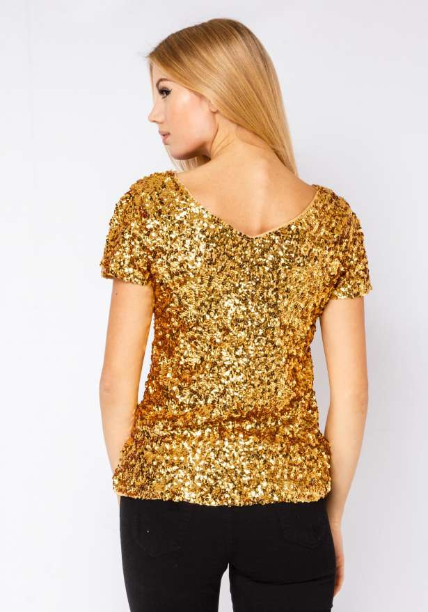 Sequin T-shirt In Gold