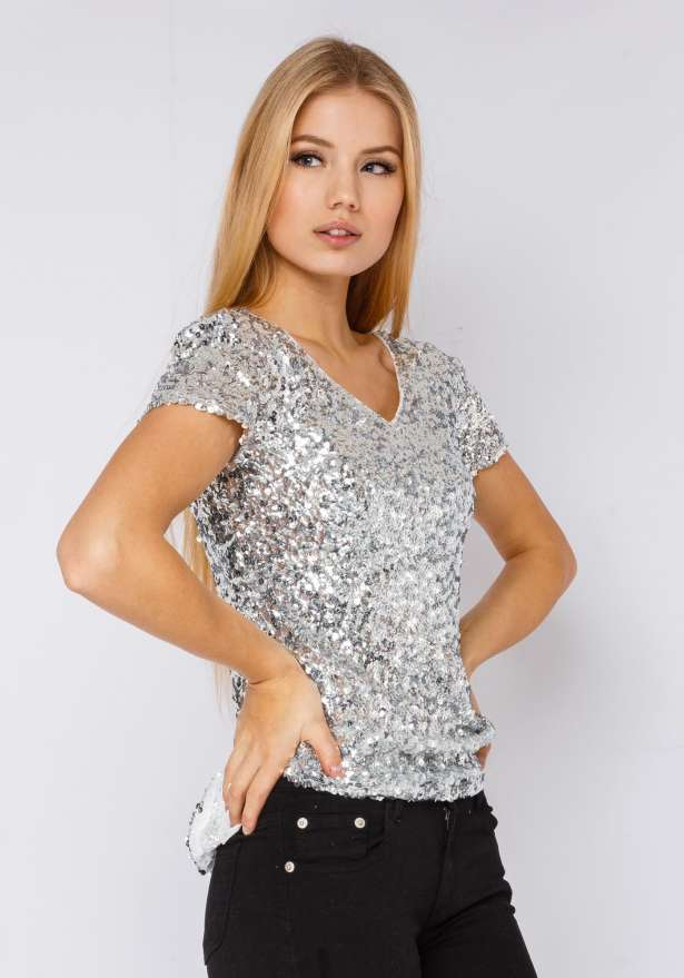 Sequin T-shirt In Silver