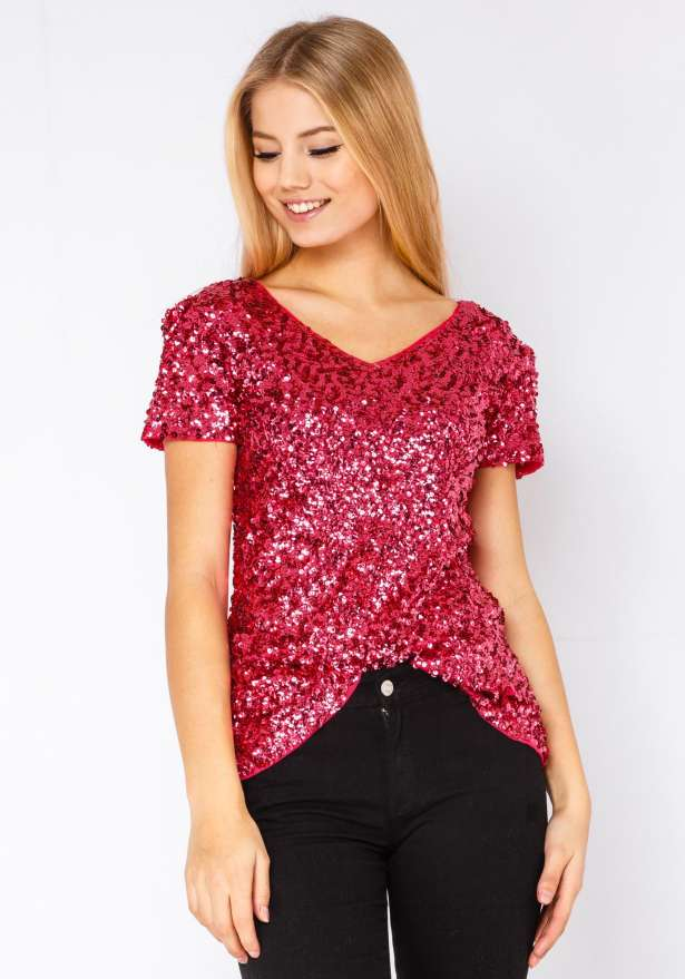 Sequin T-shirt In Pink