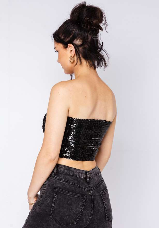 Party On Fire Sequin Tube Top In Black