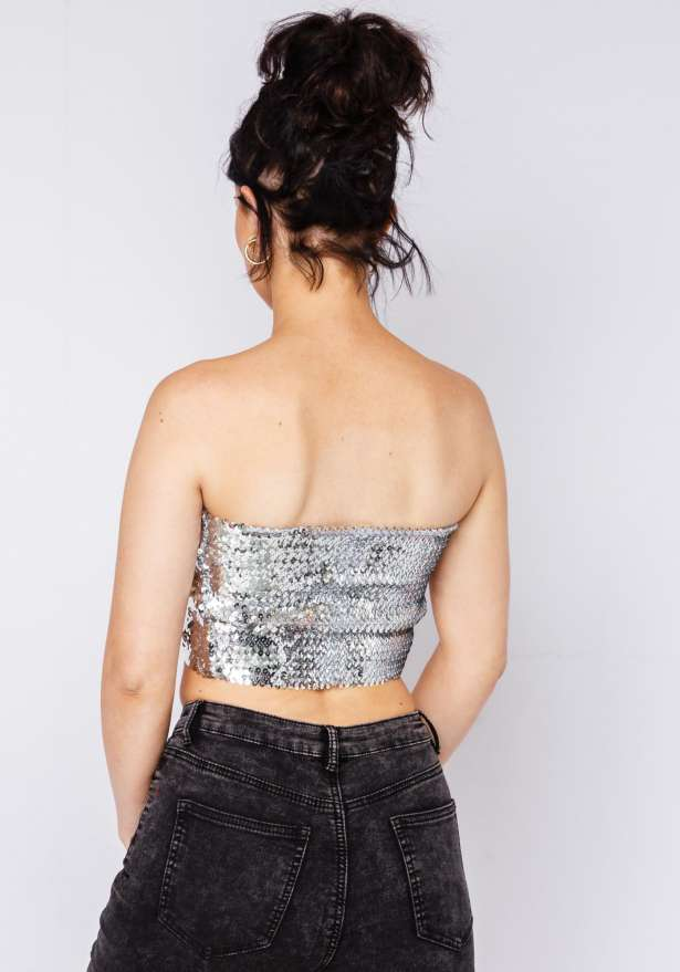 Party On Fire Sequin Tube Top In Silver