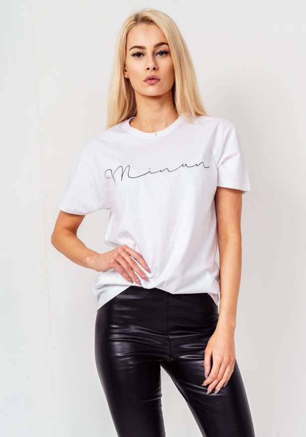 Minun Black Logo Tee In White