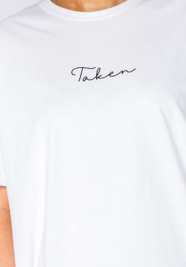 Taken Black Logo Tee In White