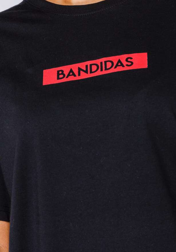 Bandidas Red Box Logo Tee In Black