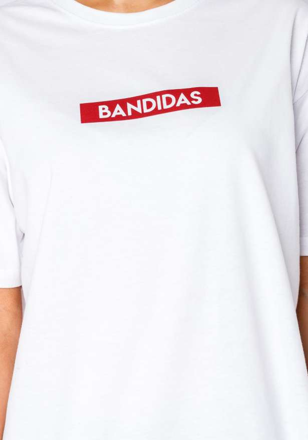 Bandidas Red Box Logo Tee In White
