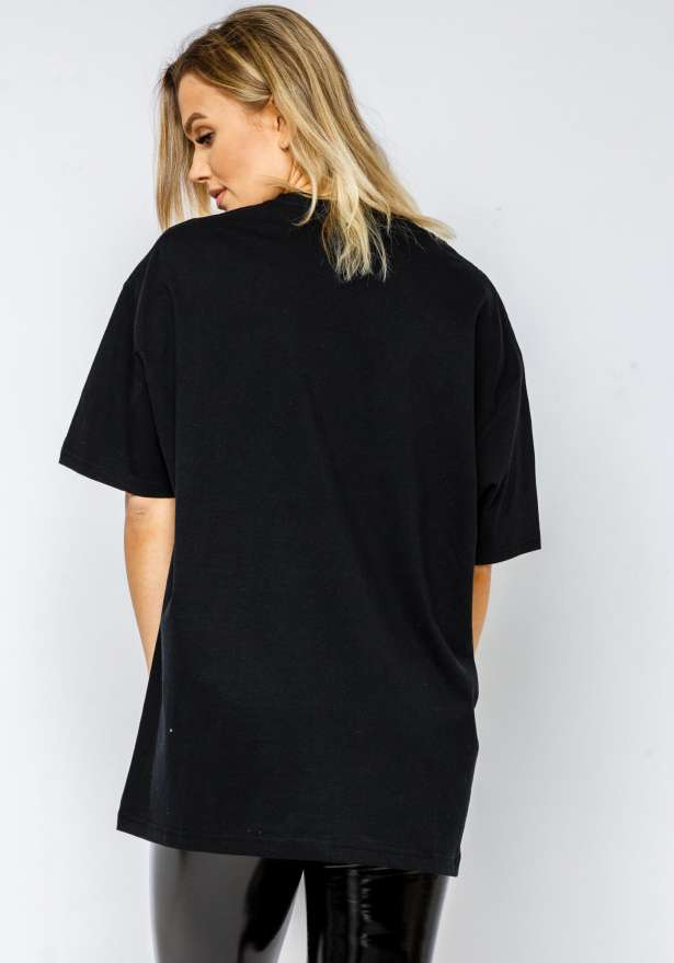 LA Rose Love Oversize Tee In Black