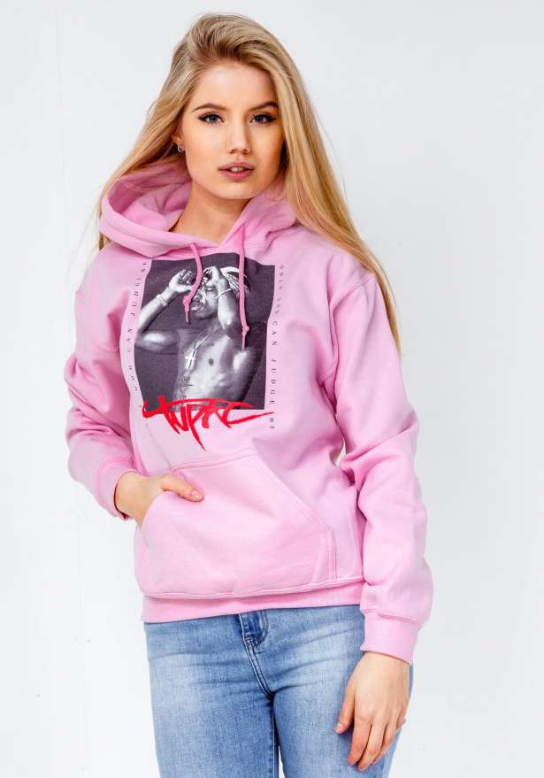 Tupac Only God Hoodie In Baby Pink