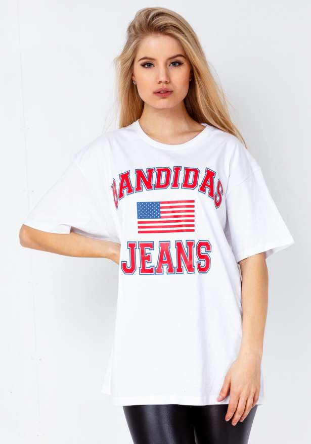 Bandidas Jeans Oversize Tee In White