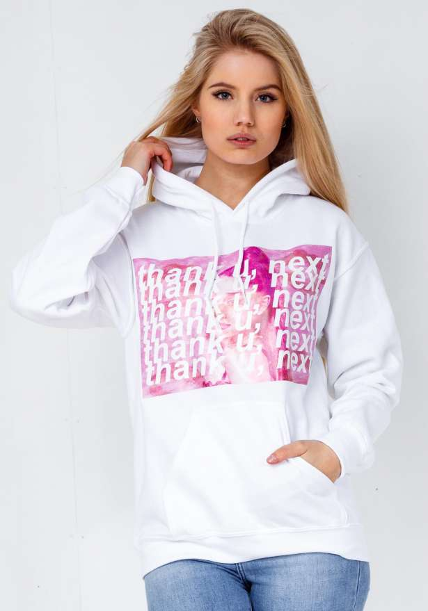 Thank U Next Hoodie In White