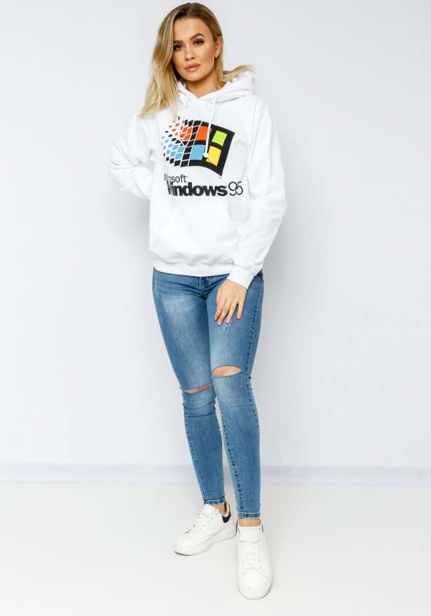 Windows 95 Hoodie In White