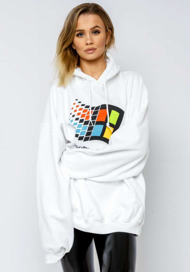 Windows 95 Oversize Hoodie In White