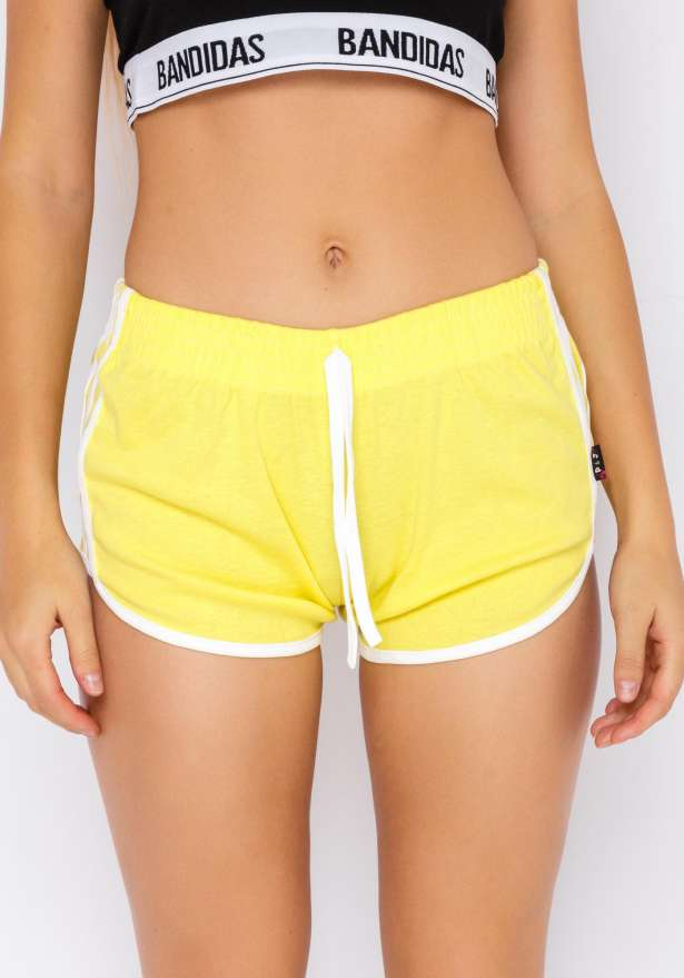 Jogger Side Stripe Shorts In Yellow