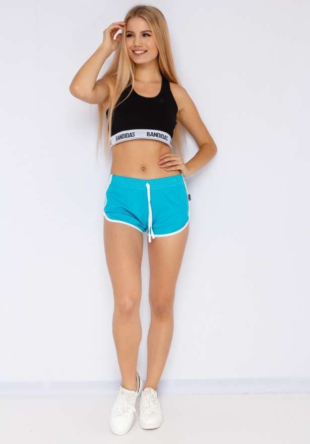 Jogger Side Stripe Shorts In Cyan Blue