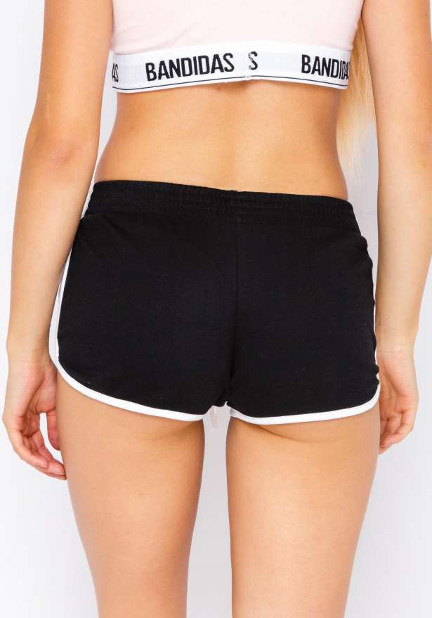 Jogger Side Stripe Shorts In Black