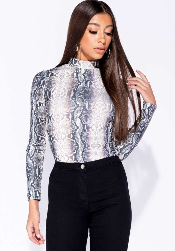 Snake Print High Neck Bodysuit In Black