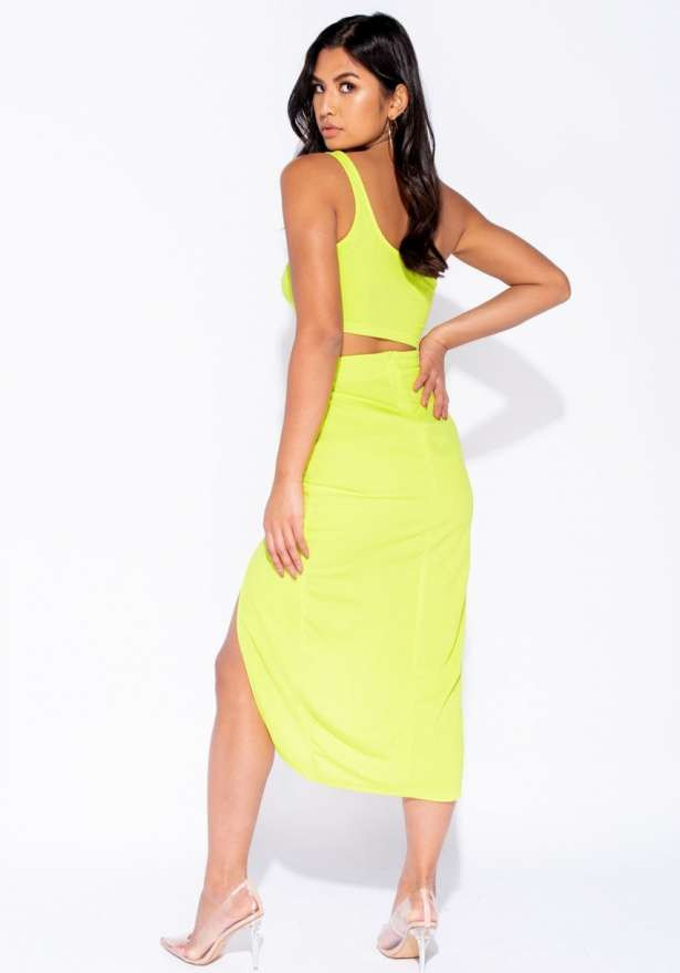 One Shoulder Co Ord Set In Neon Green