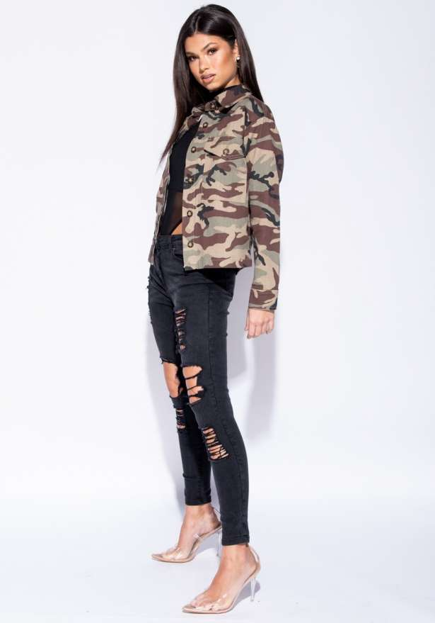 Camouflage Button Front Mid Length Jacket In Green