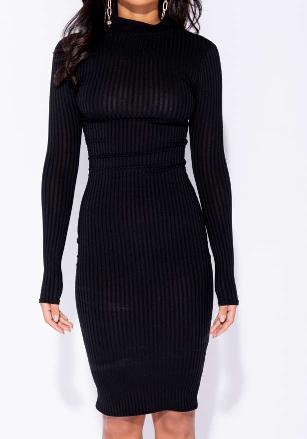 Rib Knit Polo Neck Long Sleeve Midi Dress In Black