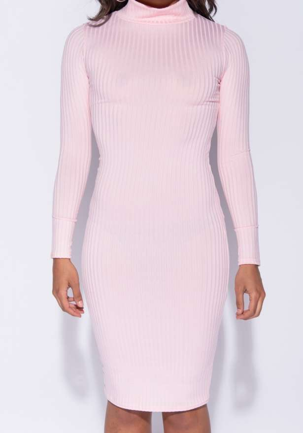 Rib Knit Polo Neck Long Sleeve Midi Dress In Pink