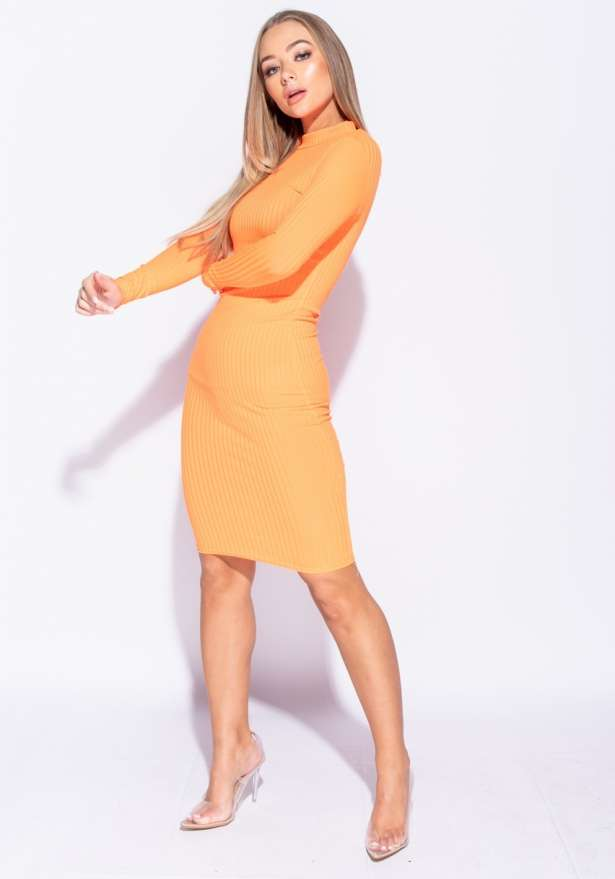 Rib Knit Polo Neck Long Sleeve Midi Dress In Neon Orange