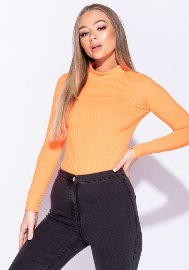 Rib Knit Polo Neck Long Sleeve Bodysuit In Neon Orange
