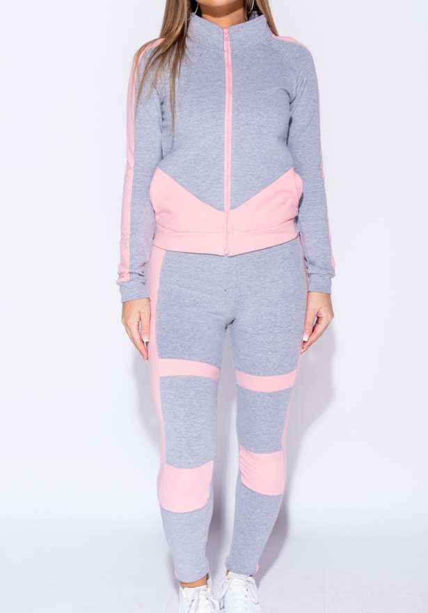 Fitness Block Zip Jacket and Leggings Set In Pink Grey