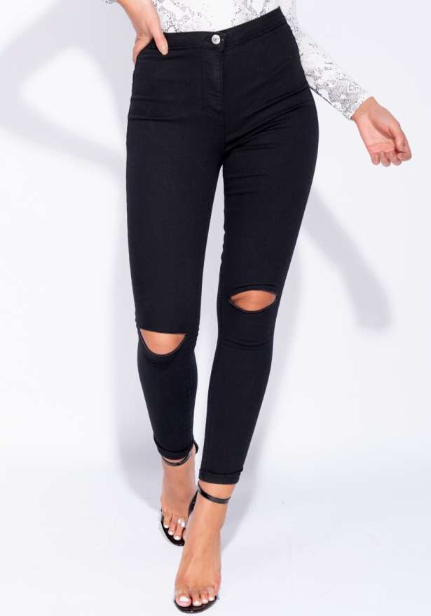 High Waisted Ripped Knee Jeggings In Black