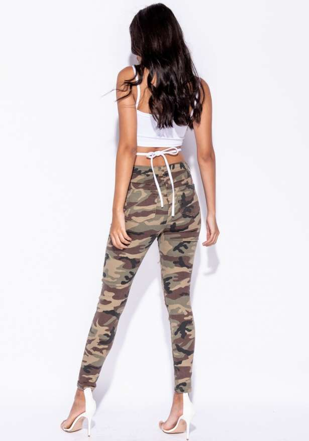 Camo Distressed Ripped Skinny Jeans