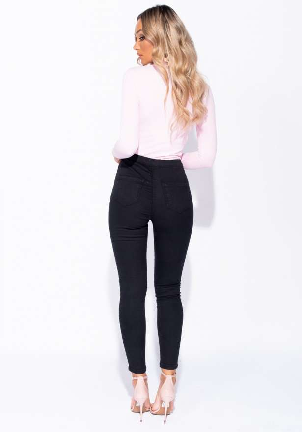 Knee Rip Detail Skinny Jeggings In Black