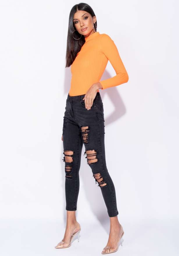 Distressed Mid Rise Skinny Jeans In Black