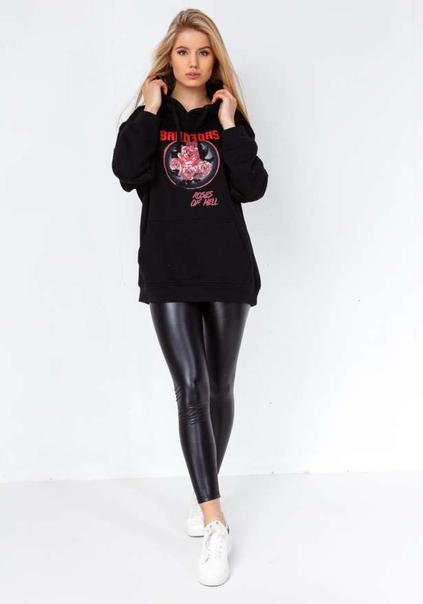 Roses Of Hell Oversize Hoodie In Black