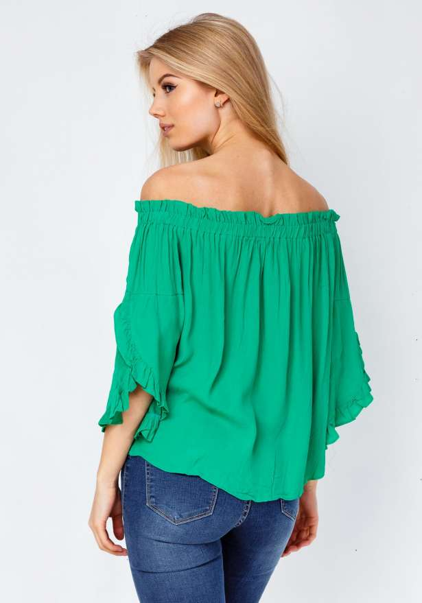 Lea Off Shoulder Blouse In Green