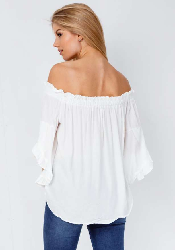 Lea Off Shoulder Blouse In White