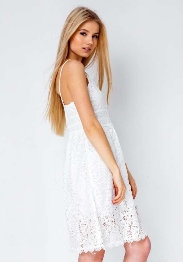 Madster Premium Lace Dress Cami Strap In White
