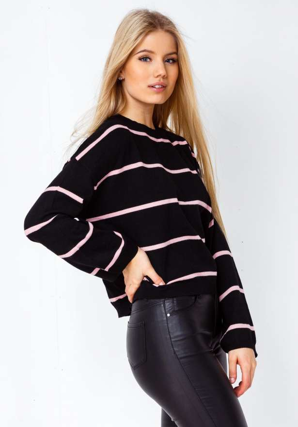 Slightly Cropped Striped Skater Blouse In Black