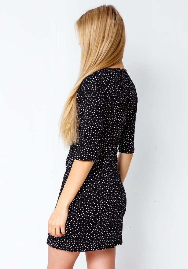 Heartbreaker Dotted Chic Dress In Black