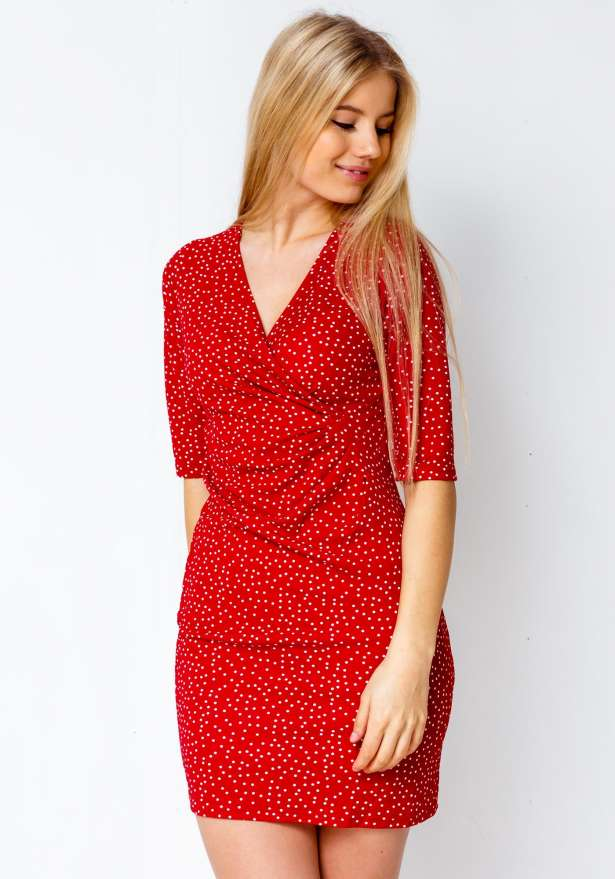 Heartbreaker Dotted Chic Dress In Red