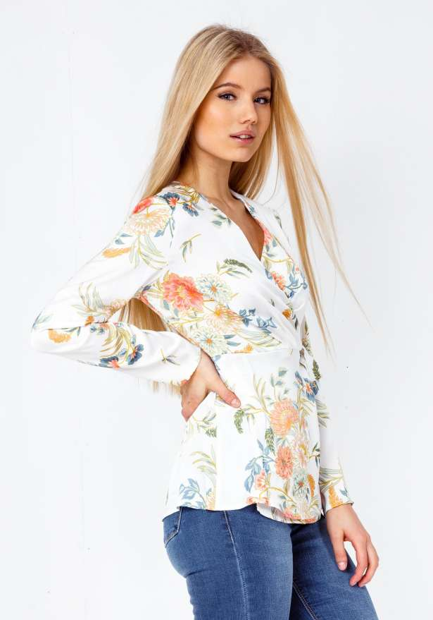 Flower Wrap Up Premium Shirt In White