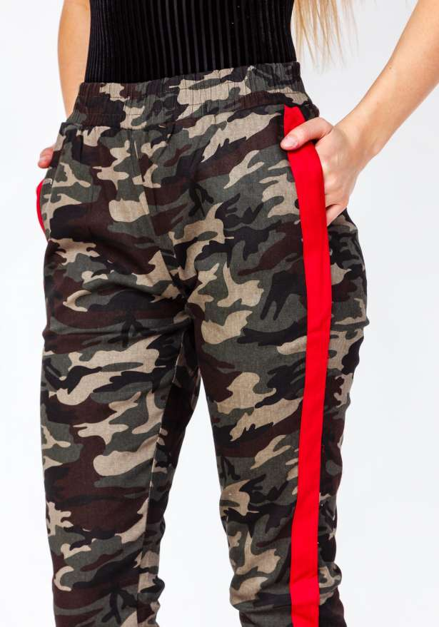 Premium Camo Red Side Stripe Green Pants
