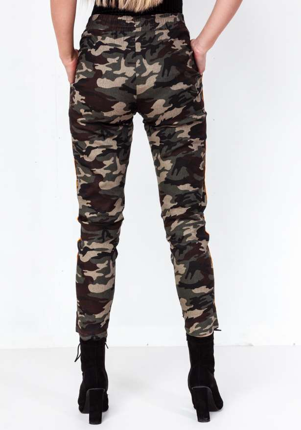 Premium Camo Orange Side Stripe Green Pants