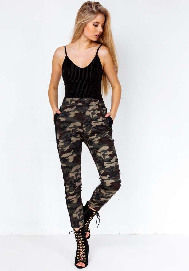Premium Camo Black Side Stripe Green Pants