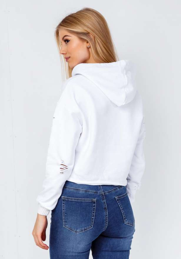 Kanye Distressed Premium Hoodie In White