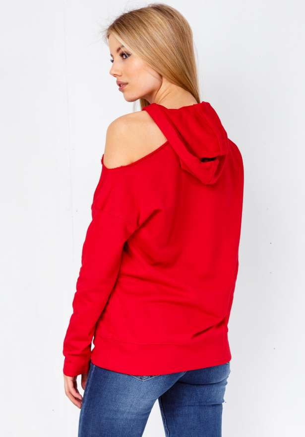 One Shoulder Hooded Sweater In Red