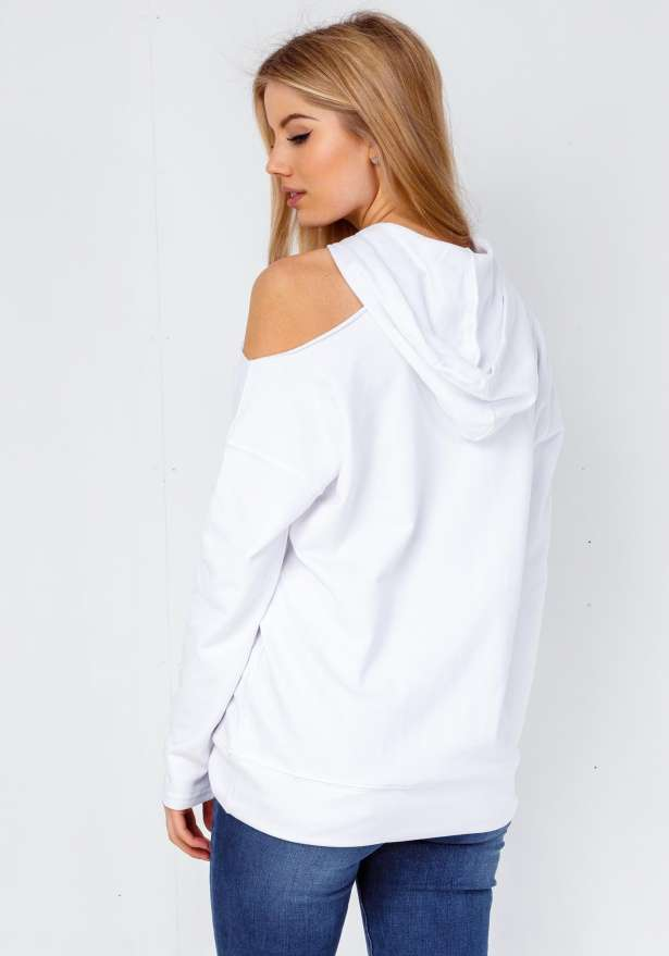 One Shoulder Hooded Sweater In White