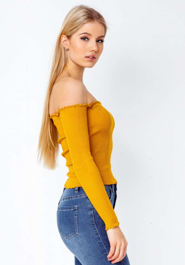Long Sleeve Off Shoulder Bardot In Mustard