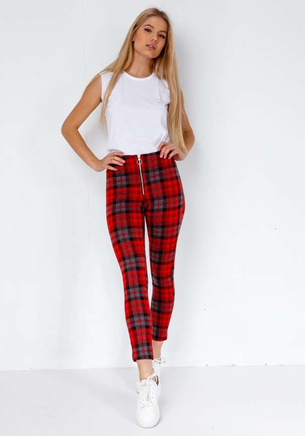 Fiorebel Checkered Rebel Zip Up Pants In Red